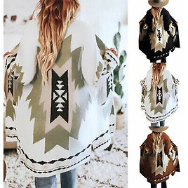 Winter Long Sleeve Vintage Knitted Women Cardigan Casual Sweater Coat Tops S-XL