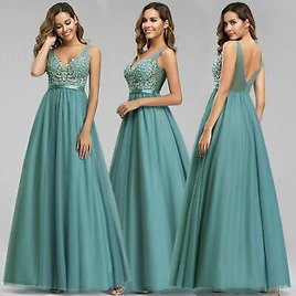 Ever-pretty Formal V-neck Celebrity Prom Gown Long Evening A-line Cocktail Dress