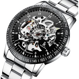 Fashion IK COLOURING 98226 Automatic Mechanical Watches Stainless Steel Silver Watches for Men