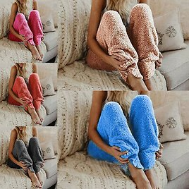 Women Winter Thermal Thick Fleece Lined Trousers Pants Pajama Casual Warm S-3XL