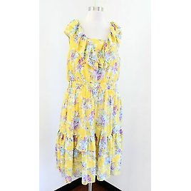 Cute Yellow Floral Printed Ruffle Tiered Dress Size 24W Spring Tea Sleeveless