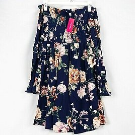Xhilaration Navy Floral Off The Shoulder Long Sleeve Dress Size Small NWT