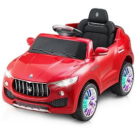 Costway Licensed Maserati 6-Volt Red Kids Ride On Car RC Remote Control Opening Doors MP3 Swing-TY565275RE