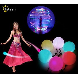 COLORFUL LED SHINY POI THROWN BALLS PROFESSIONAL BELLY DANCE LEVEL HAND PROPS E