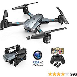 SNAPTAIN A15H Foldable FPV WiFi Drone W/Voice Control/120°Wide-Angle 720P HD Camera/Trajectory