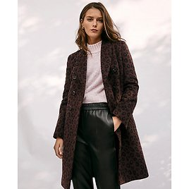 Petite Cheetah Print Double Breasted Chesterfield Coat | Ann Taylor