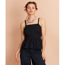 Floral Cotton Eyelet Peplum Top - Brooks Brothers