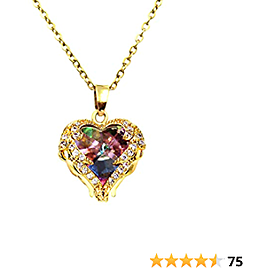 DYD Heart Necklace, Gold Plated Cubic Zirconia Dainty Pendant Necklace for Women and Girl Birthday for Mom/Wife/Sister/Best Frie