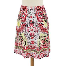 NWT TAHARI Floral Skirt Size 12 Pink Yellow Pleated Lined A-line Knee-length