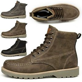 US Mens Leather Waterproof Work Boots Ankle Casual Non-Slip Hiking Lace Up Shoes