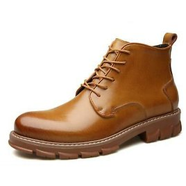 Mens Ankle Boots Chelsea Leather Shoes High Top Workwear Lace Up Non-slip Casual