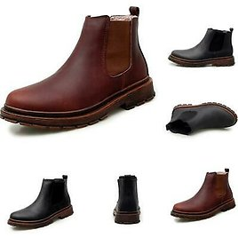Retro Mens Chelsea Boots Shoes Slip On Pumps Fur Lined Warm Work Non-slip Casual