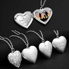 925 Silver Love Heart Locket Photo Memory Floating Carved Pendant Necklace Women