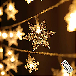 Harrms Snowflake String Lights, 8 Modes Remote Control 20 Ft Battery Operated Waterproof String Lights Indoor Outdoor Bedroom Wedding Birthday Party Christmas Snowflake Decorative, Warm White