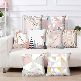 Rose Gold Cushion Covers Pink&Grey Pillow Case Sofa Home Decor Geometric Marble