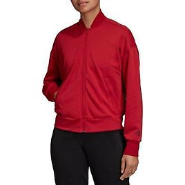 New Adidas Womens Red Athletic Mesh Detailing ID Bomber Full Zip Jacket XL-2XL