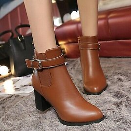 Ankle Boots Square Heels Type Shoes For Womens Winter Platform Zipper Footwear
