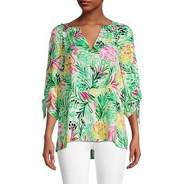 Pappagallo Eliza Painted Pineapple-Print Blouse