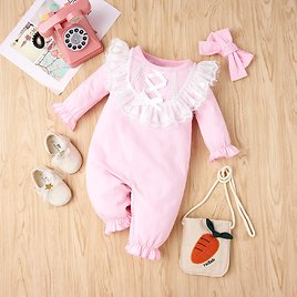 2-piece Baby Lace Bowknot Jumpsuit and Headband Set