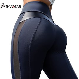 US $10.4 40% OFF|ATHVOTAR S XL Leggings Fitness Women High Waist Workout Legins Mujer Mesh And PU Leather Patchwork Joggings|Leggings| - AliExpress