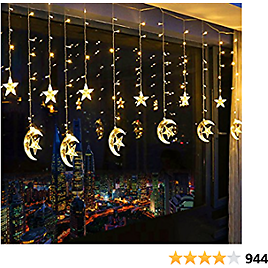 Tencoz 138 LED Star Curtain Lights, Window Curtain String Light Moon Star Fairy String Lights for Wedding Party Home Garden Bedroom Outdoor Indoor Wall Decorations (Warm White)