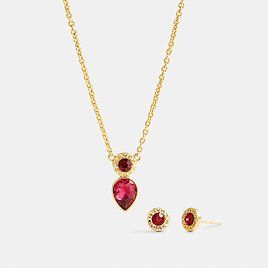 Open Circle Necklace and Pear Earrings Set