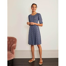 Lily Puff Sleeve Jersey Dress - Frosted Blue, Ditsy Pop | Boden US