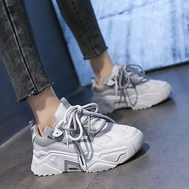 Asterisk - Faux Leather Chunky Sneakers