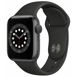 Apple Watch Series 6 40mm Space Gray Aluminum Case with Black Sport Band - Regular (GPS) (MG133LL/A) for Sale Online