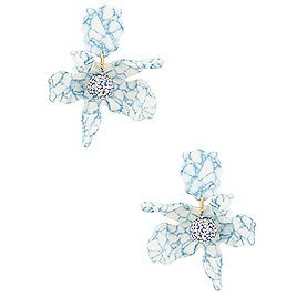 Lele Sadoughi Small Crystal Lily Earrings in Blue Marble   REVOLVE