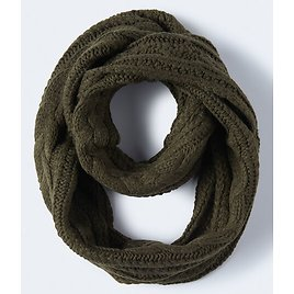 Cable Knit Infinity Scarf - Green