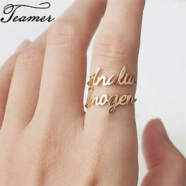 Double Name Personalized Custom Ring Couple Name Gold Steel Rose Gold Jewelry