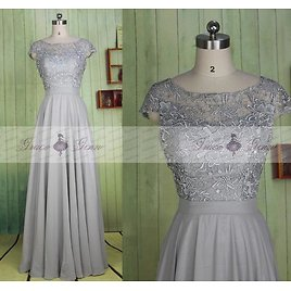 Grey Bridesmaid Dress,Long Lace Chiffon Simple Wedding Dress,Cap Sleeve Prom Dress,Mother Of The Bride Dress,Formal Evening Gown Dresses
