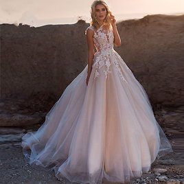 US $91.73 49% OFF|Blush Pink Puffy Tulle Wedding Dresses with Train 2020 New Lace Applique Scoop Neck Boho Bridal Gown Vestido De Noiva Trouwkleed| | - AliExpress