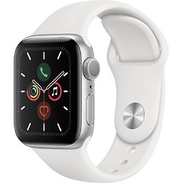 Apple Watch Series 5 (GPS) 40mm Silver Aluminum Case with White Sport Band Silver Aluminum MWV62LL/A