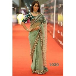 WEDDING NEW NET PARTY WEAR SAREE SARI BLOUSE ETHNIC BRIDLE BOLLYWOOD CASUAL AD7