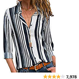 Astylish Women V Neck Striped Roll Up Sleeve Button Down Blouses Tops