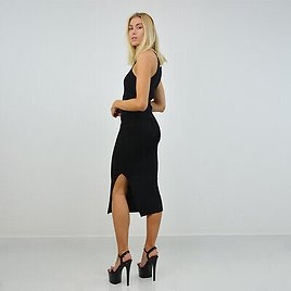 Womens Below The Knee Ribbed Bodycon Dress With Slit And Chain Detailing