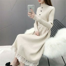 Womens Knitted Sweater Dress Pullover Mixed Lace Long Sleeves Slim Blouses