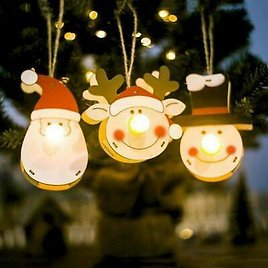 LED Wooden Doll Pendant Cute Christmas Tree Hanging Ornaments Holiday Decor Gift