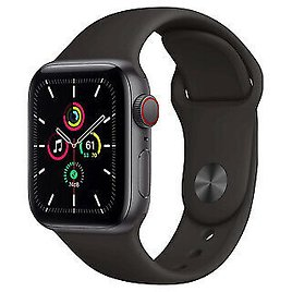 Apple Watch SE 44mm Space Gray Aluminum Case with Black Sport Band - Regular... 190199763036