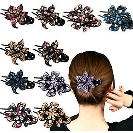 Details About Women Crystal Hair Clips Slide Flower Hairpin Pins Comb Hair Grip Accessories