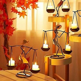 Abstract Waiter Candlestick Crafts Handmade Iron Candle Holder Home Decor*