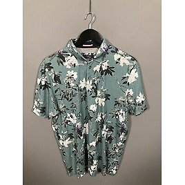 TED BAKER Polo Shirt - Size 6 XXL - Floral - Great Condition - Men's
