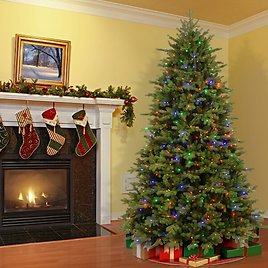 Princeton Fir Green Artificial Christmas Tree with Color & Clear Lights