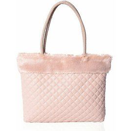 Blush Faux Leather Quilted Tote Bag Handbag with Faux Fur Trim for Women