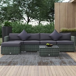 Aeddan Outdoor 6 Piece Rattan Sectional Seating Group with Cushions