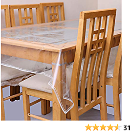 """Plastic Tablecloth for Dinning Table, Clear Plastic Transparent Tablecloth Protector Water Proof, Family Party Holidays, Table Covers, Covers for Dining Table. (Rectangle 60"""" X 90"""")"""