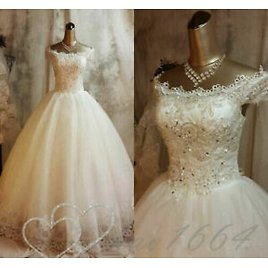 Princess Wedding Dresses Off Shoulder White Cap Sleeve Bridal Ball Gowns Beaded