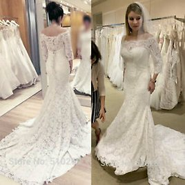 Sweep Train Mermaid Wedding Dresses Full Lace Off The Shoulder 3/4 Sleeves Gown